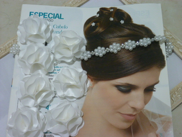 Tiara Noiva Trama Flor Strass Pérola Headband