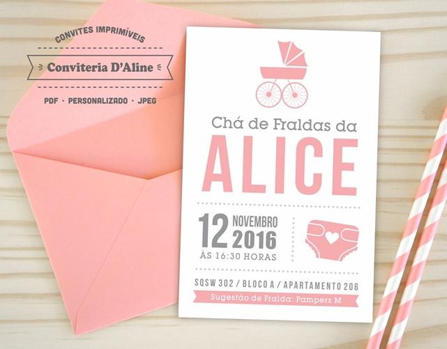 Convite Cha De Fraldas Digital No Elo7 Conviteria Daline 80ffaf