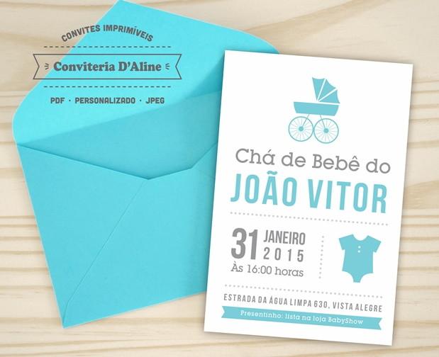 Convite Cha De Bebe Digital No Elo7 Conviteria Daline 810024