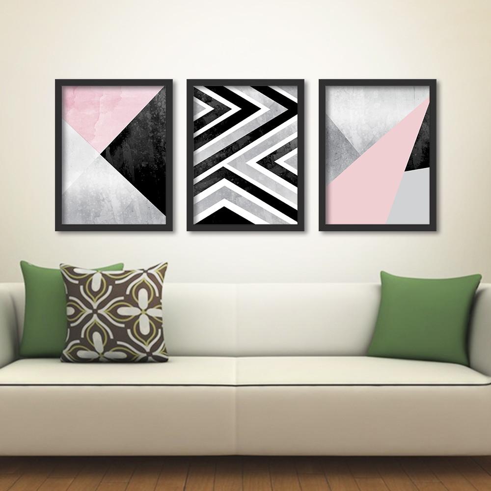 Quadros Na Sala De Tv ~ de quadros geometricos abstratos quadros trio de quadros geometricos