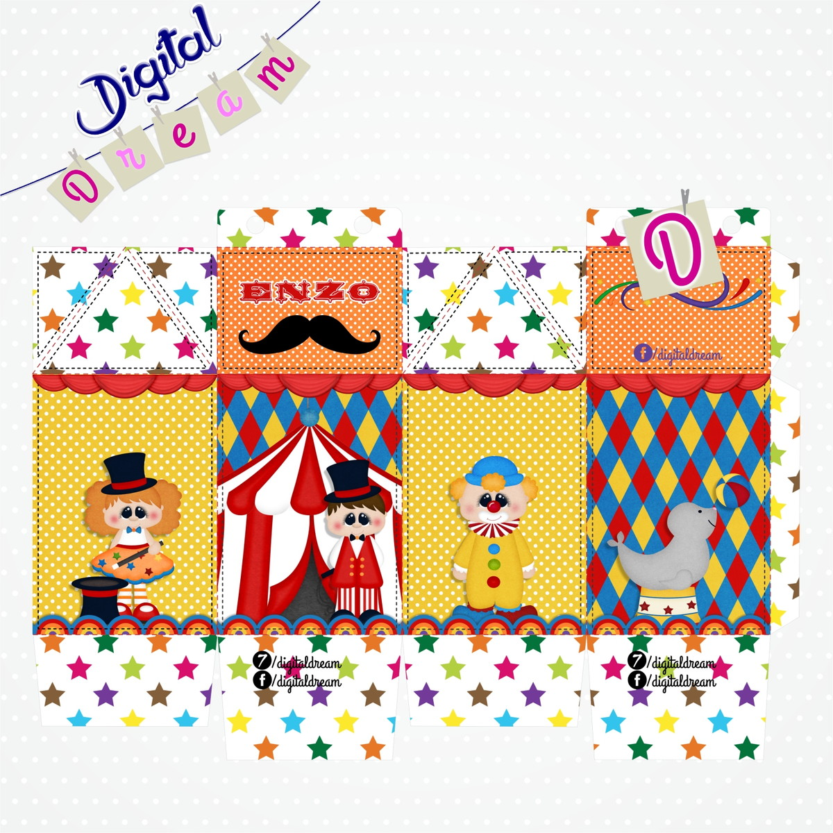 Caixa Milk Circo Digital No Elo7 Digital Dream 81355e