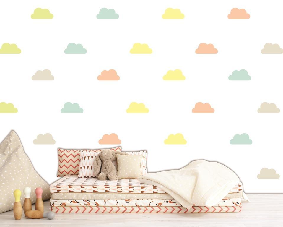 Artesanato Brasileiro Em Sp ~ Adesivo nuvens coloridas Quarto de Criança