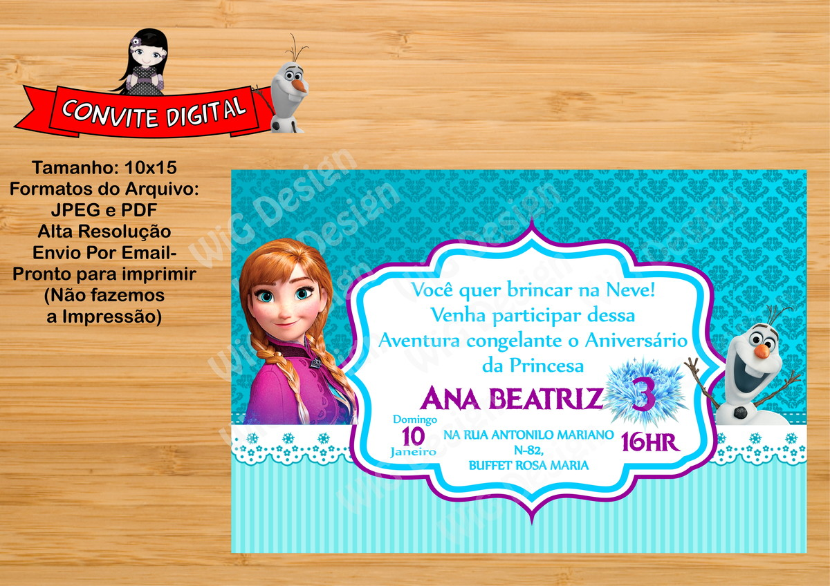 convite digital frozen ana no elo7 wig design 815a48