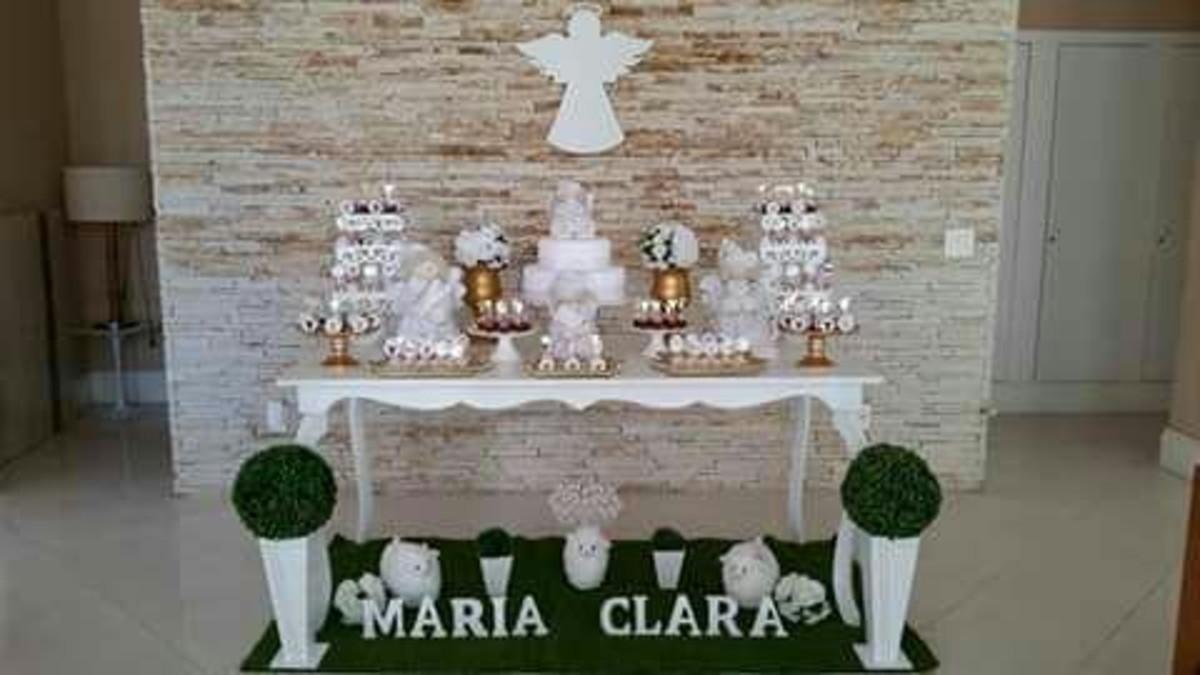 Batizado branco e dourado no Elo7 Bellana Decoraç u00e3o (81F43B)