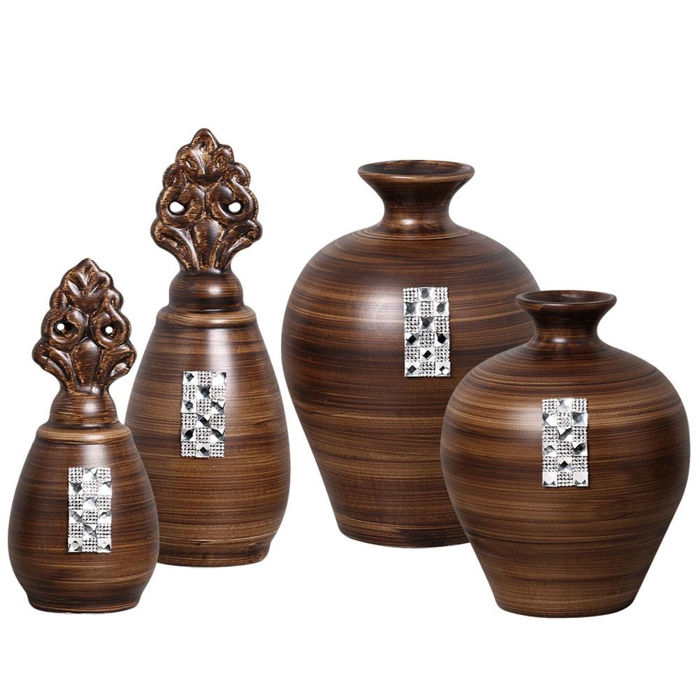 Enfeite De Rack ~ Par de vasos + par de enfeites p sala Cer u00e2mica Burguina Elo7