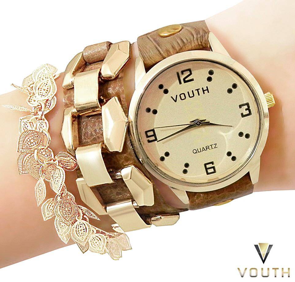 be0627b35db Relógio Feminino Bracelete De Couro no Elo7