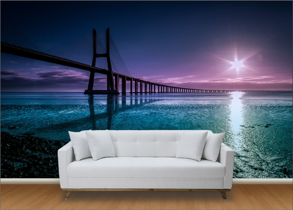Papel de parede 3d ponte m 0001 no elo7 paredes decoradas 824e0b - Papel pared 3d ...
