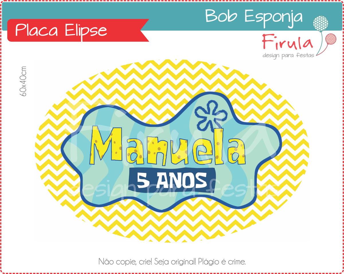 Placa Elipse Digital Bob Esponja no Elo7  d5c02a9bf1768