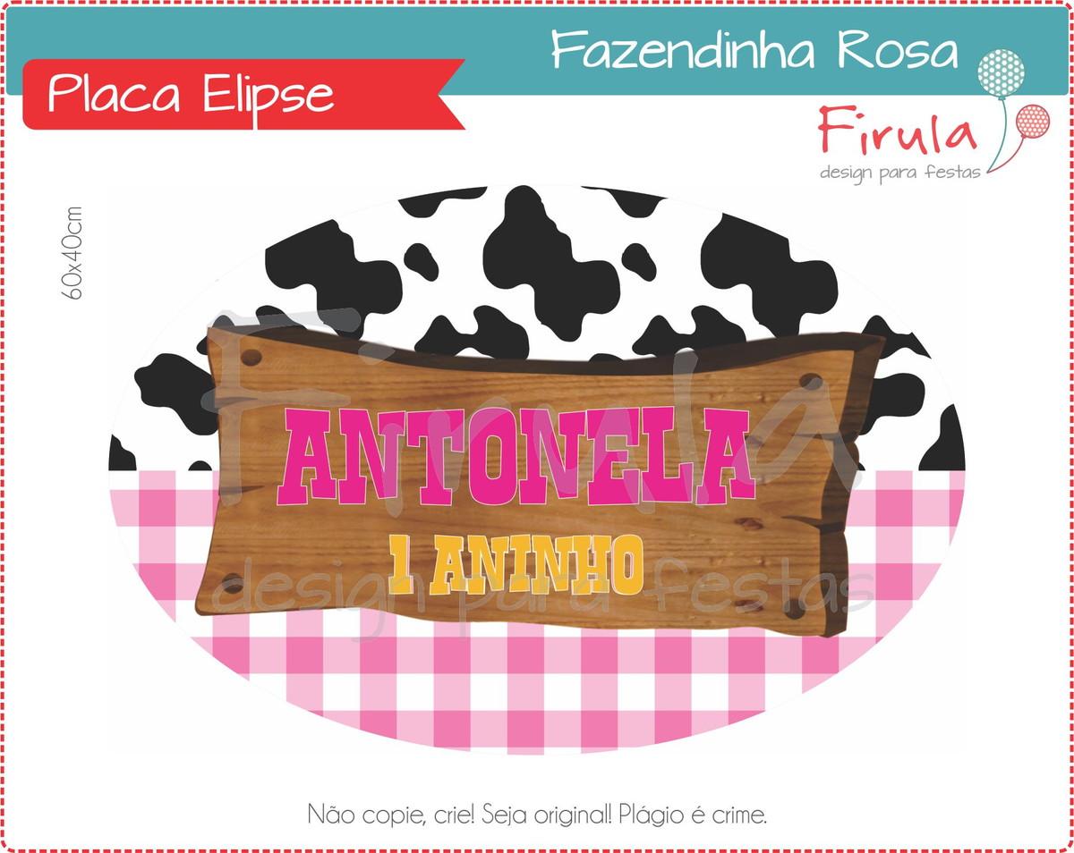 Placa Elipse Digital Fazendinha Rosa no Elo7  aa36960fc6cfe