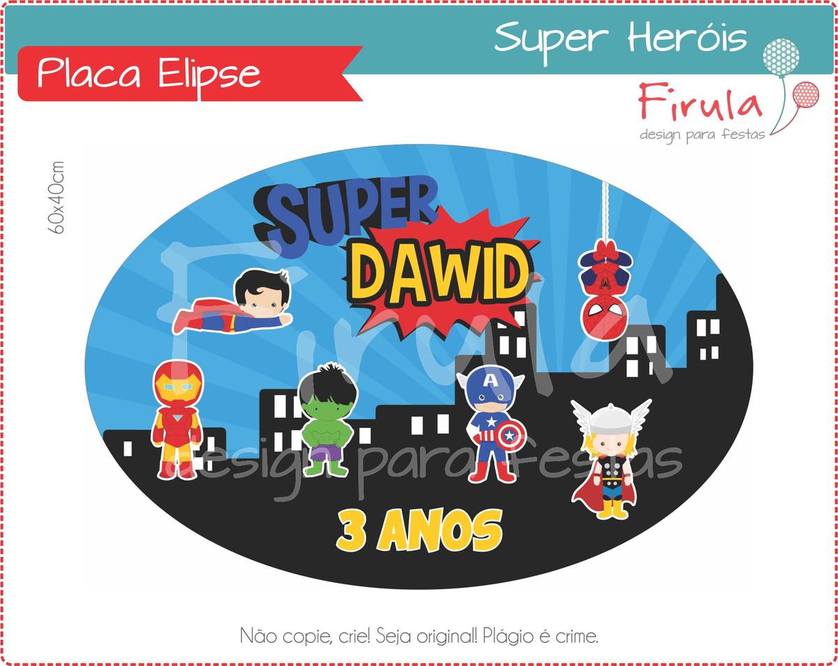 Placa Elipse Digital Super Heróis no Elo7  b97d42ff95d7f