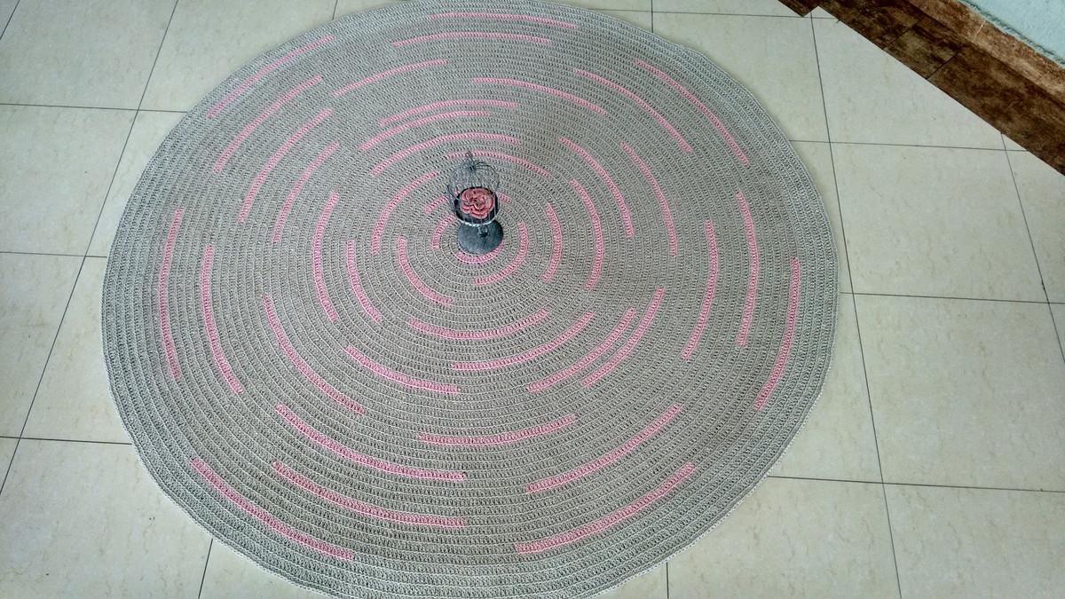 Tapete crochê baby mescla rosa 1,50m Atelier Val  ~ Tapetes Quarto Nenem