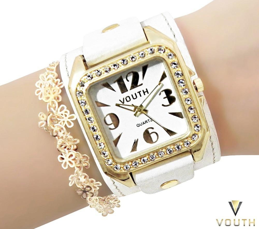 c4afe1080c7 Relógio Feminino Bracelete Couro Branco no Elo7
