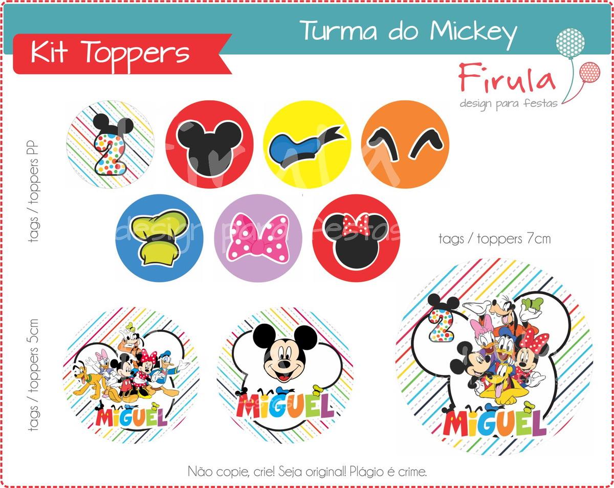 Kit Digital Toppers   Tags Turma Mickey no Elo7  6561a8375aa6d