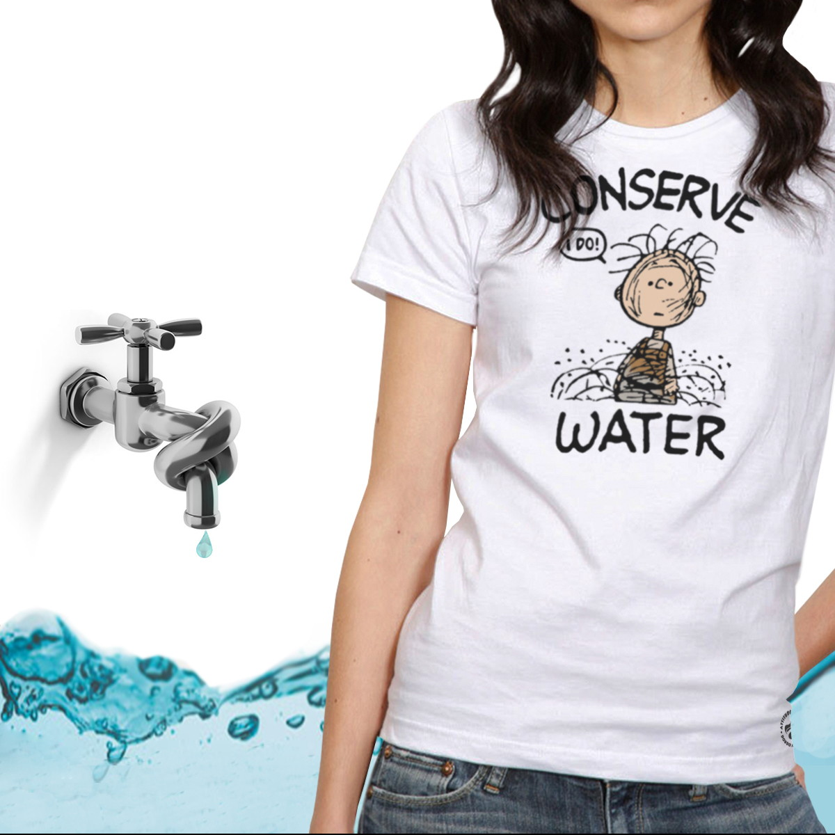 Camiseta Feminina Conserve Water Minduim no Elo7  60e9be172be23