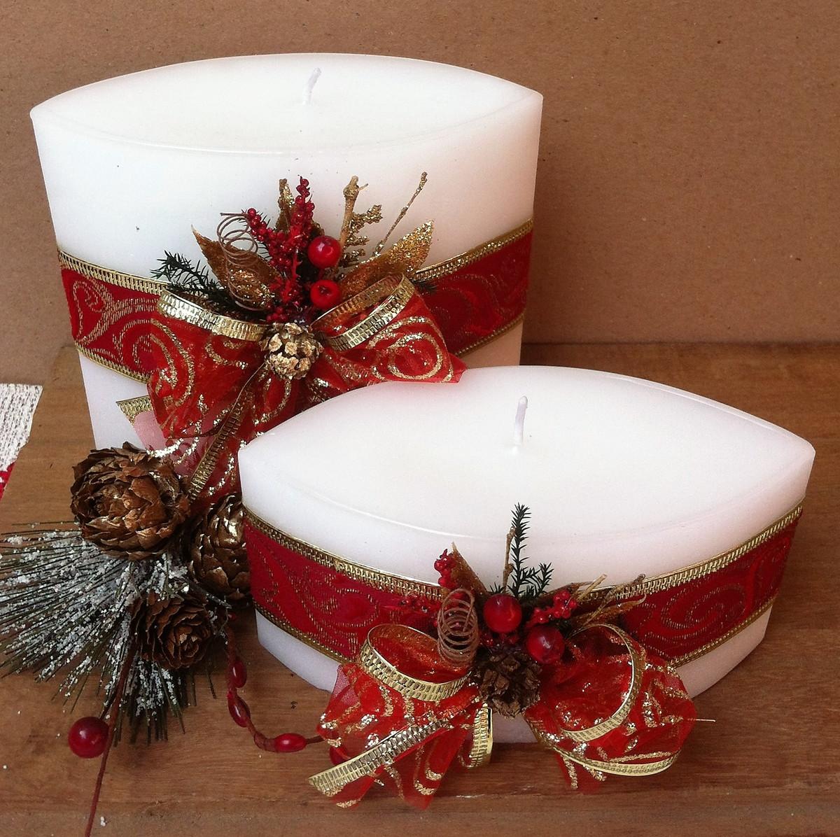 Velas ovais decoradas natal no elo7 essencialart 83012e - Velas de navidad decoradas ...