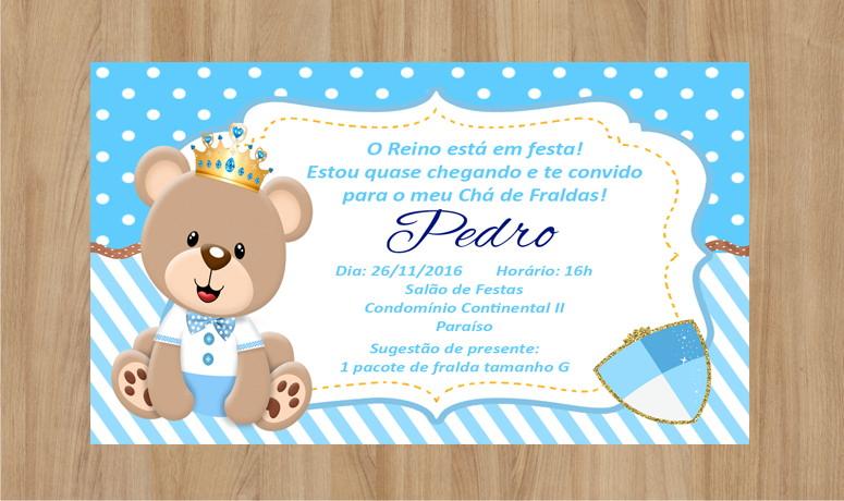 Convite Ursinho Príncipe Frete Grátis No Elo7 Criarteshop 833207