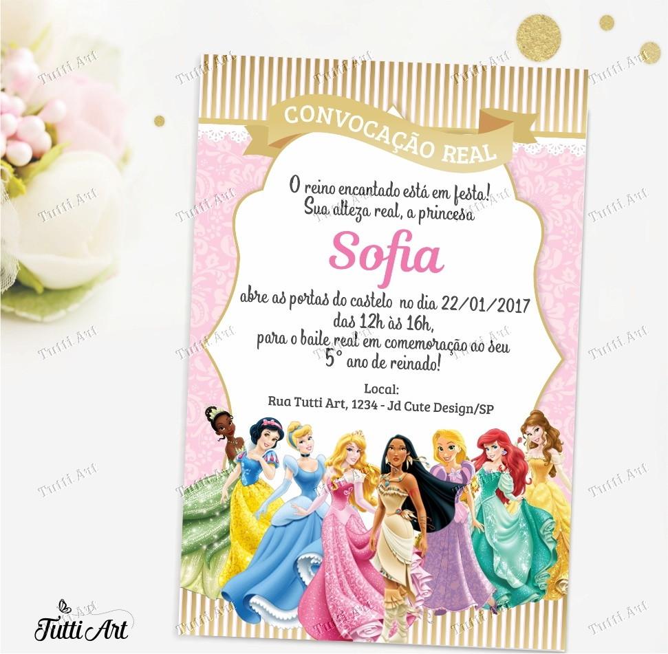 Convite Digital Princesas Disney No Elo7 Tuttiart 833e0d