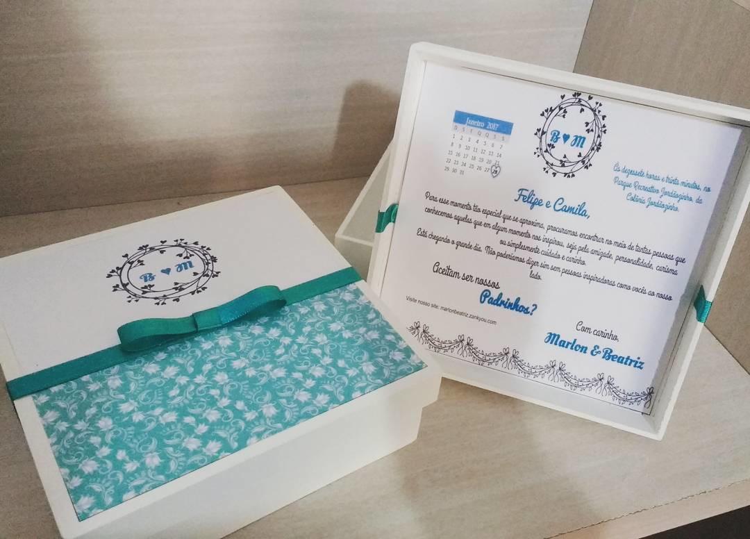 Conhecido Caixa mdf para convite padrinhos 20x20x5 no Elo7 | Nany Atelier  YZ21
