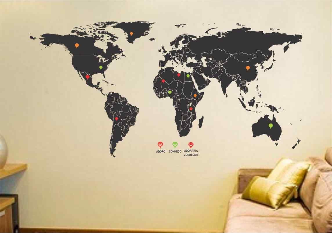 Adesivo mapa mundi gigante 2m x 1m no Elo7 | Adesivos Sempre Viva ...