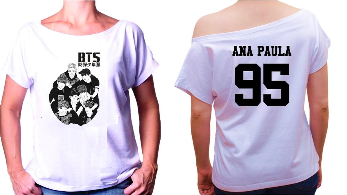 b6bf8902a0 Camiseta Gola Canoa Bagtan Boys BTS Kpop no Elo7