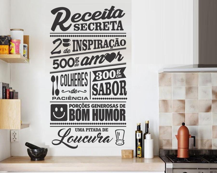 Artesanato Com Tecido E Cola ~ Adesivo Decorativo De Parede Para Cozinha Receita Secreta R$ 44,90 em Mercado Livre