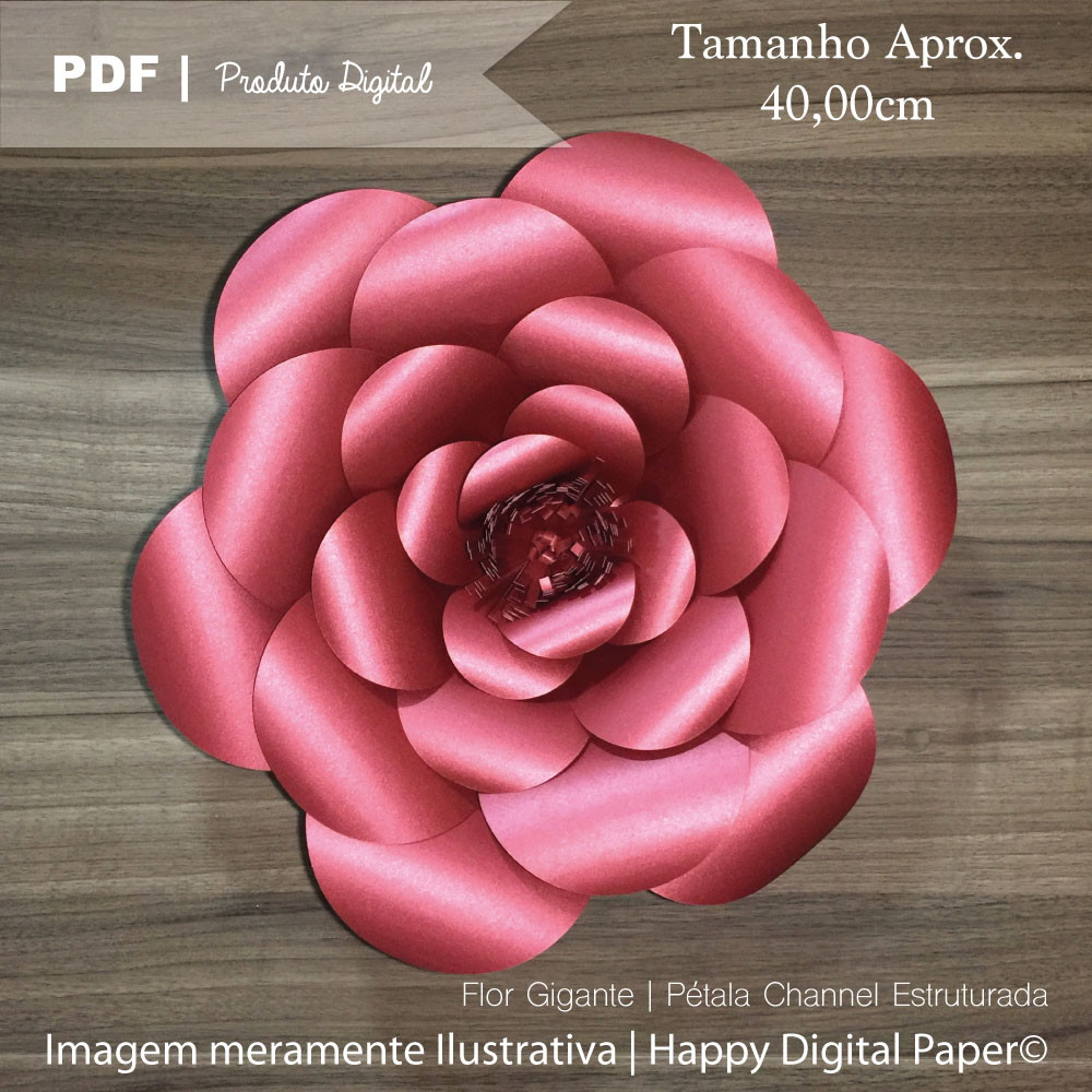 Molde Digital P Flor De Papel Gigante No Elo7 Happy Digital Paper