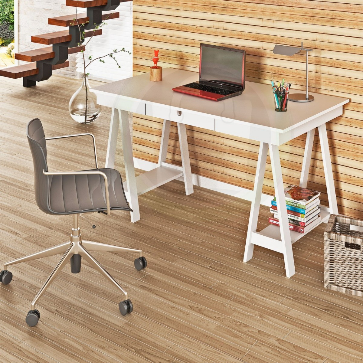 Mesa cavalete escrivaninha moderna lac jeferson elo7 for Mesa escritorio moderna