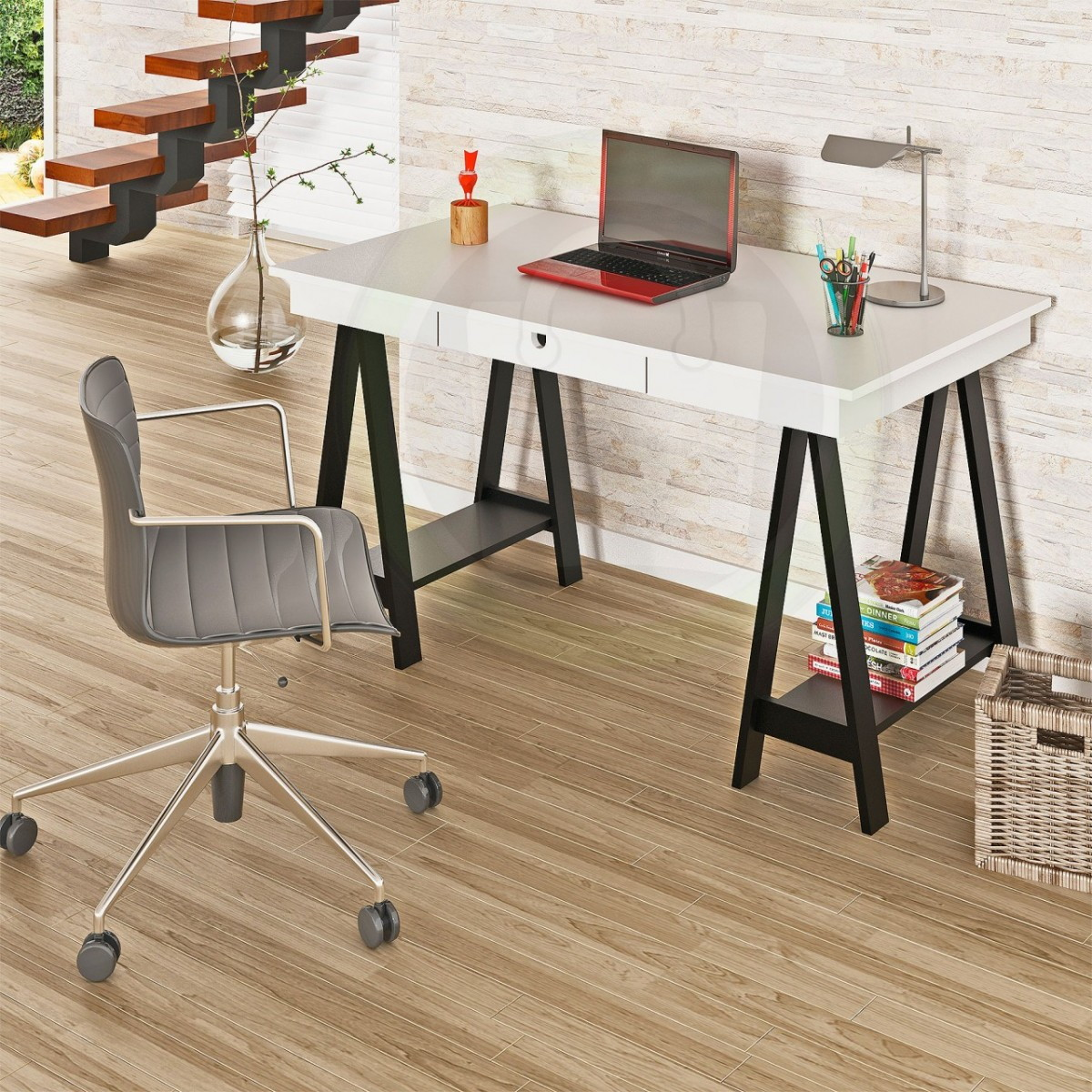 Mesa Cavalete Escrivaninha Moderna Lac Jeferson Elo7 #AA3721 1200x1200