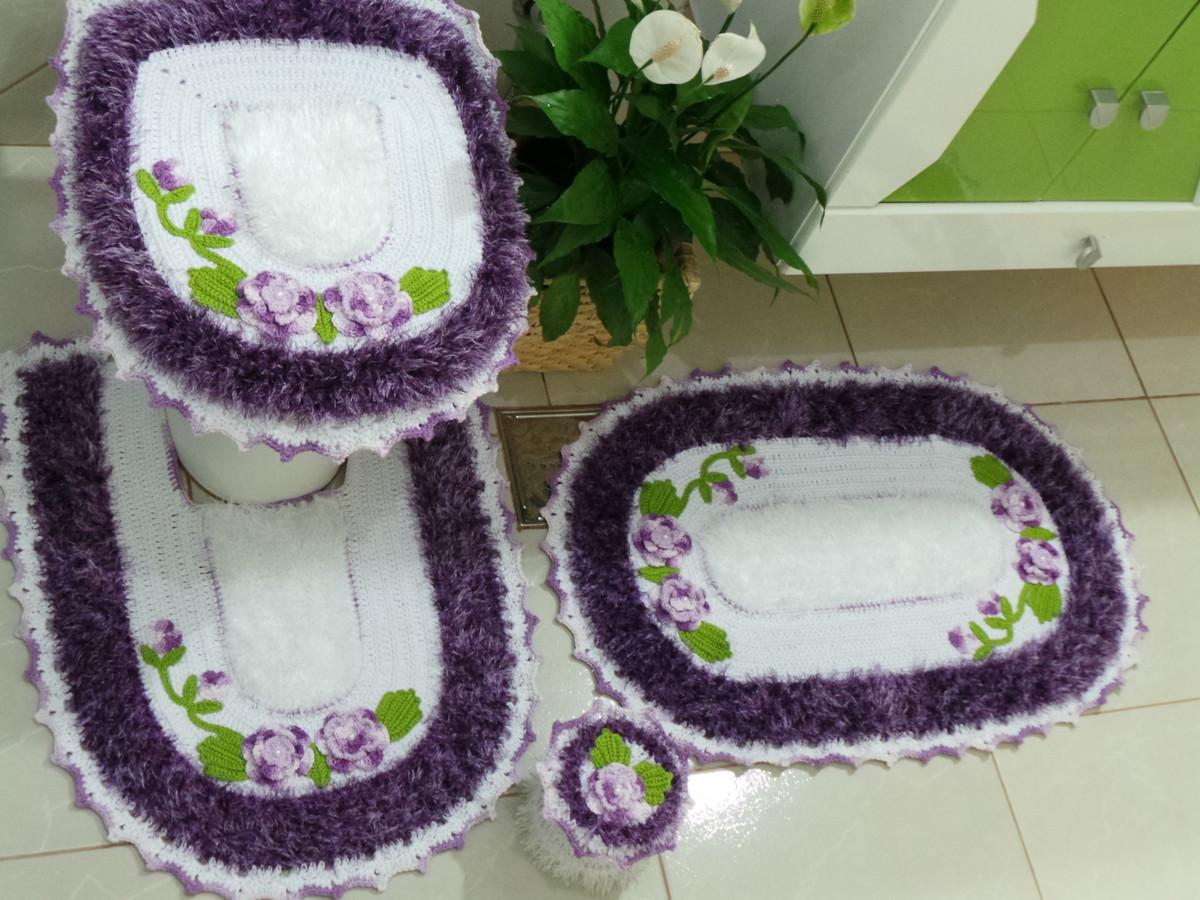 Jogo tapete Banheiro  Bya Crochê Ateliê  Elo7 -> Decoracao Tapete Banheiro