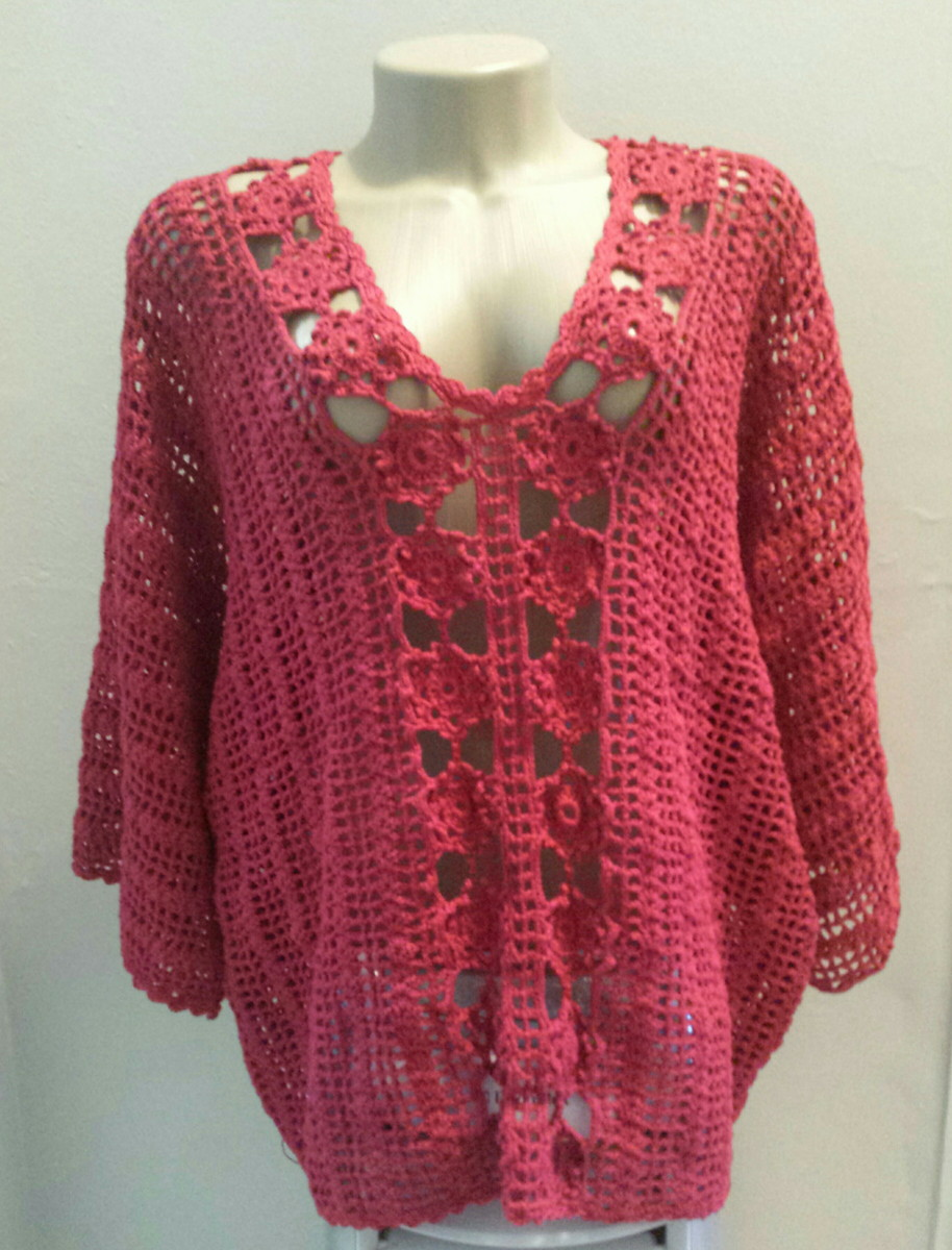 b92eef30774d15 BLUSA MANGA MORCEGO no Elo7 | Knit and Crochet by Sissy Monturil ...