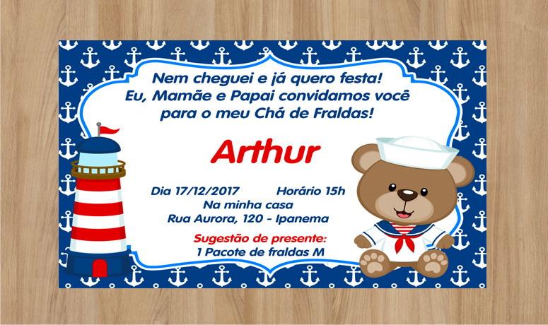 Mensagem De Convite De Cha De Fralda: Convite Ursinho Marinheiro Chá De Fralda No Elo7
