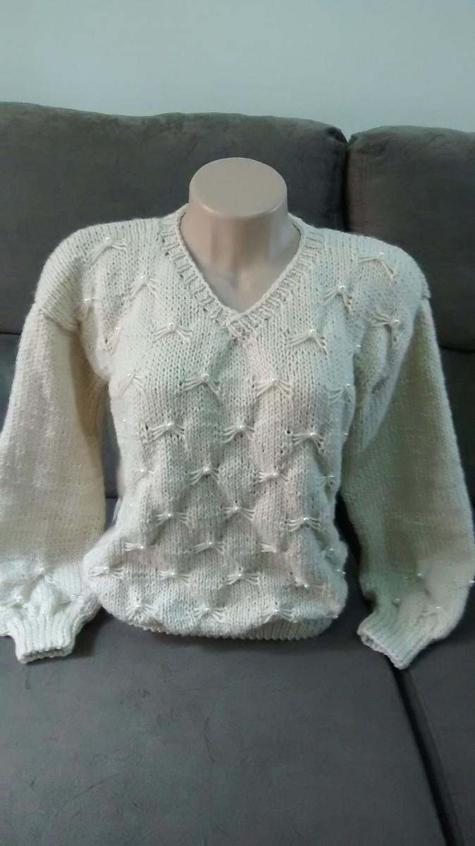 e97e5df2ce Blusão bordado em tricô a mão no Elo7