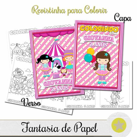 Revistinha Para Colorir Circo Rosa 20x14 5 No Elo7 Fantasia De