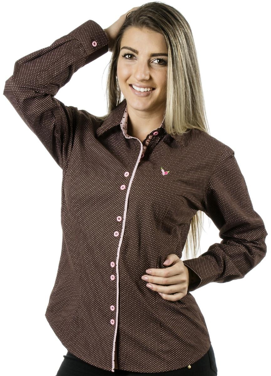 Camisa Feminina Poá Catherine no Elo7  92f41307ee949
