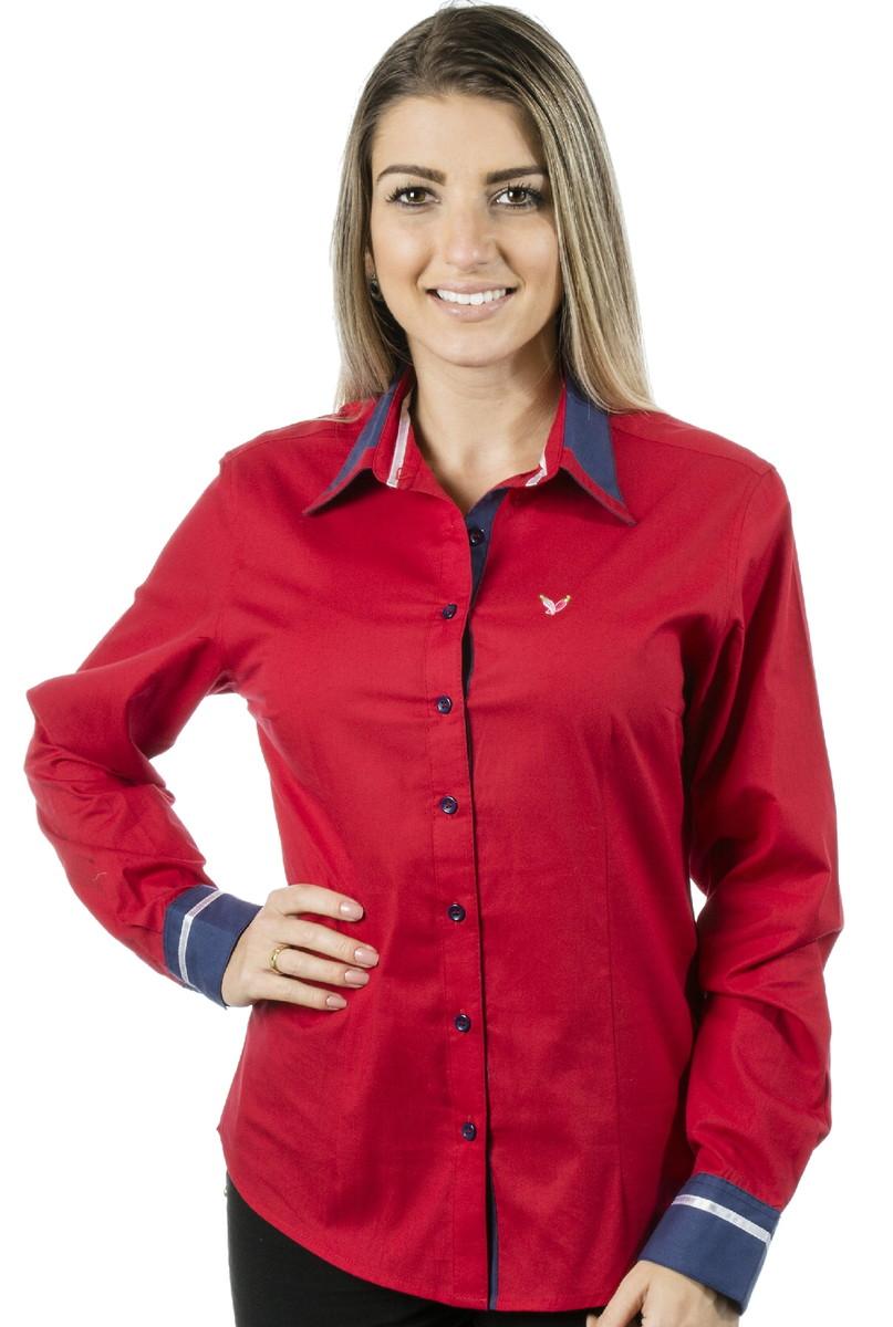 1134f87e28 Camisa Feminina Inês - Pimenta Rosada no Elo7