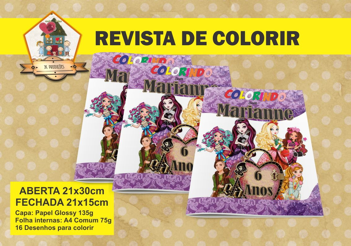 Revista Para Colorir Ever After High No Elo7 Jk Producoes 4ff221