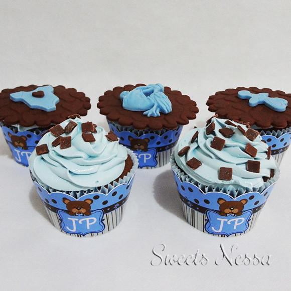 Cupcake Urso Azul Marrom No Elo7 Sweets Nessa 852b8b