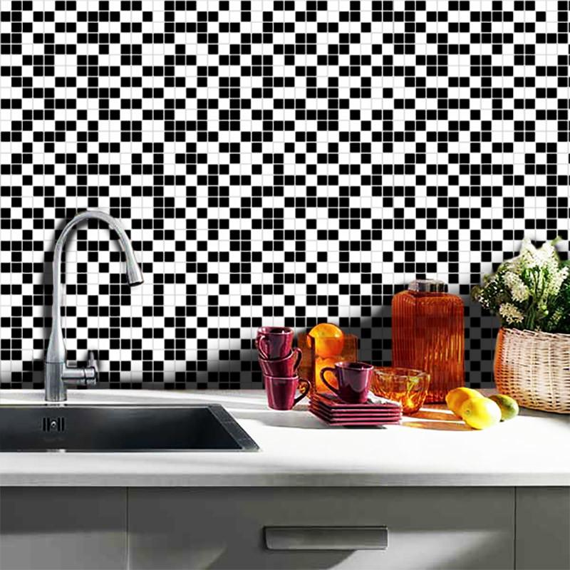Adesivo De Cozinha ~ Adesivo Pastilhas Preto e Branco 10x10cm TaColado