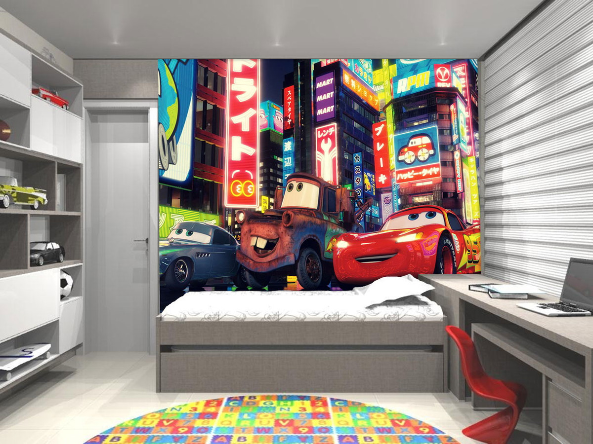Papel de Parede 3D Infantil Disney Carro  UP Adesivos 3D  Elo7