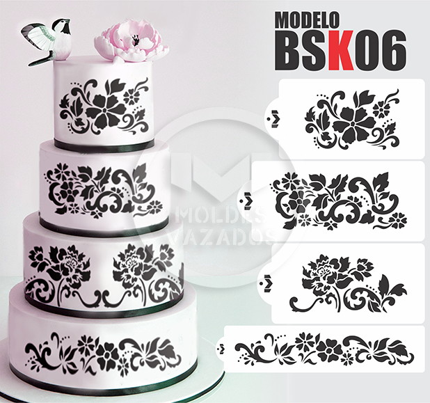 wedding cake border ideas molde vazado stencil bolo 4 pe 231 as bsk06 no elo7 moldes 22044