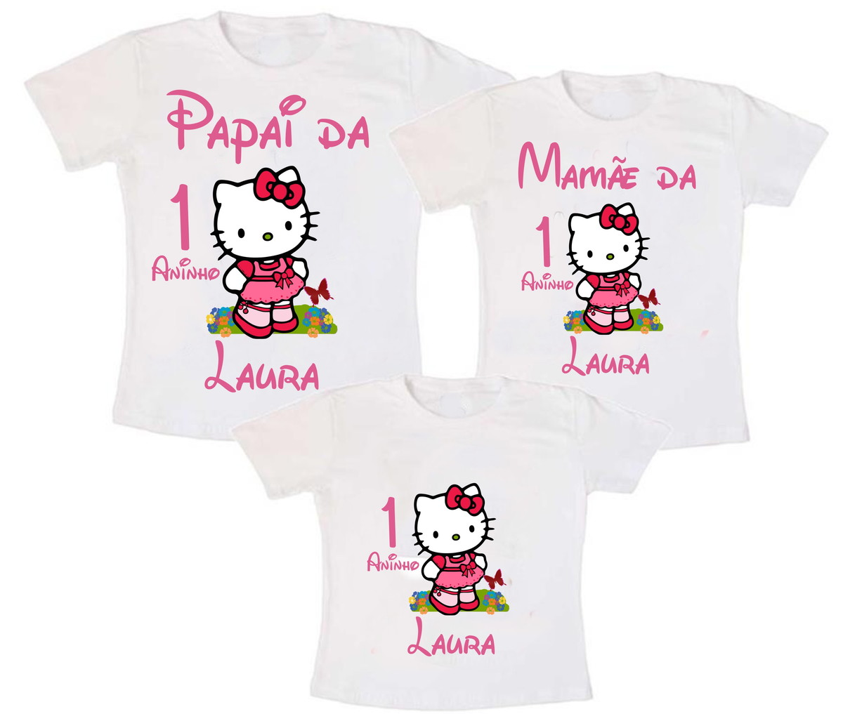 Kit 3 Camiseta Hello Kitty Aniversário no Elo7  5594ab29b95f0