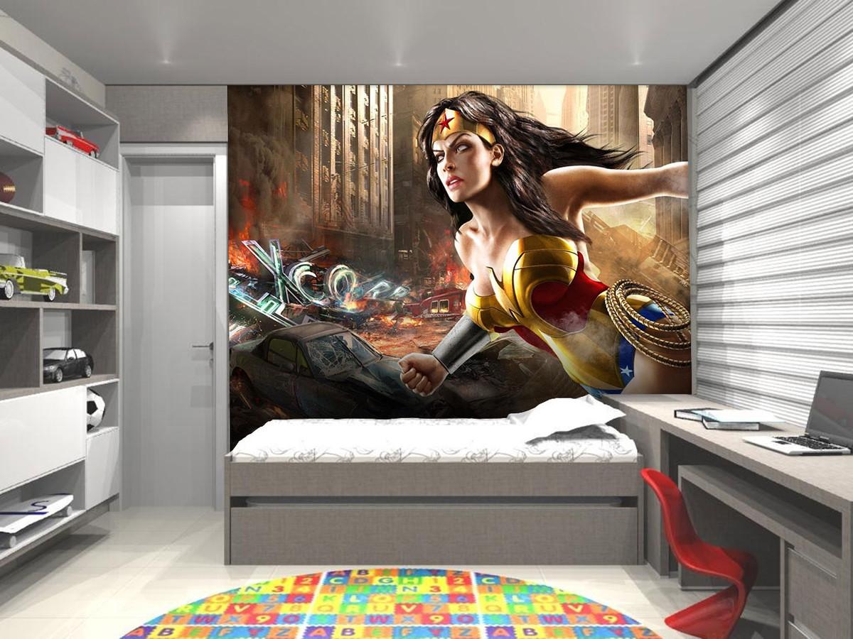 Papel De Parede Para Quarto Super Herois Redival Com ~ Decoração Quarto Teen Com Quarto De Super Herois