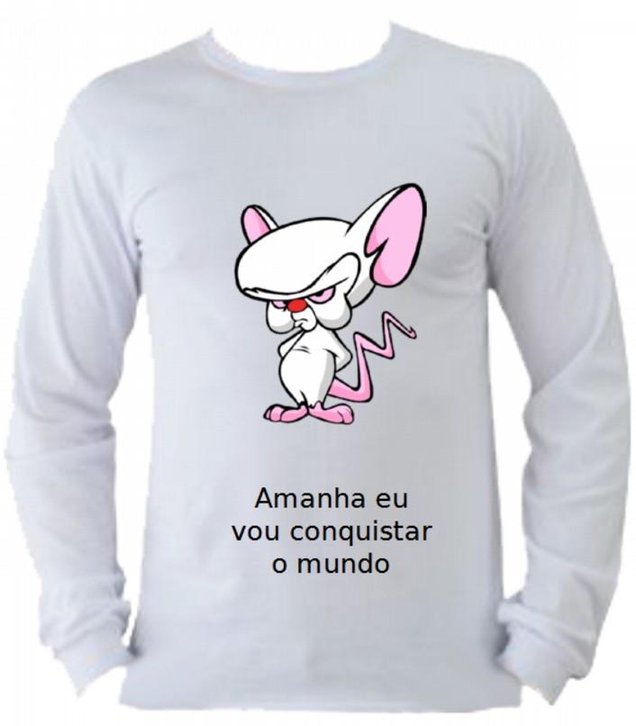961111394ae Camiseta Pinky e Cérebro manga longa 5 no Elo7