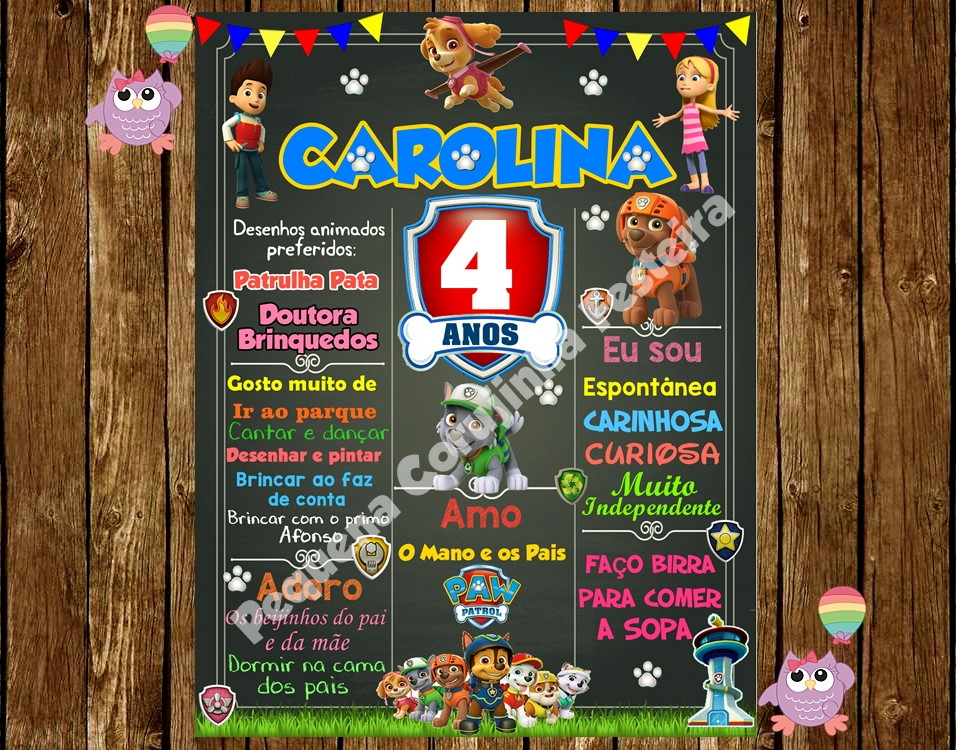 8f224ded76795 Chalkboard Patrulha Canina no Elo7   Pequena Corujinha Festeira (85D806)