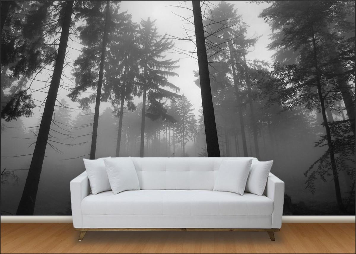 Papel de parede 3d paisagens floresta up adesivos 3d for Sala de estar com papel de parede 3d