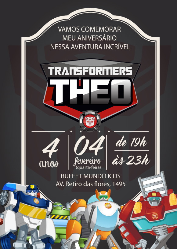 Convite Zap Virtual Transformers No Elo7 Comprafesta 8644d8