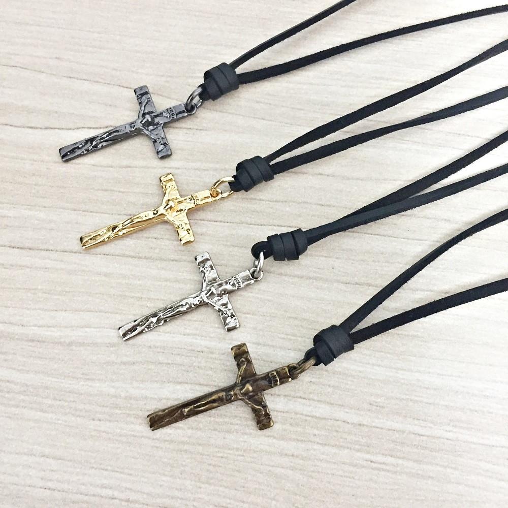 1990927001 Colar Masculino Couro Pingente Crucifixo no Elo7