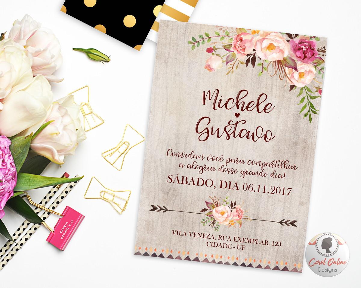 Convite De Casamento Arte Digital No Elo7 Caroline Simões