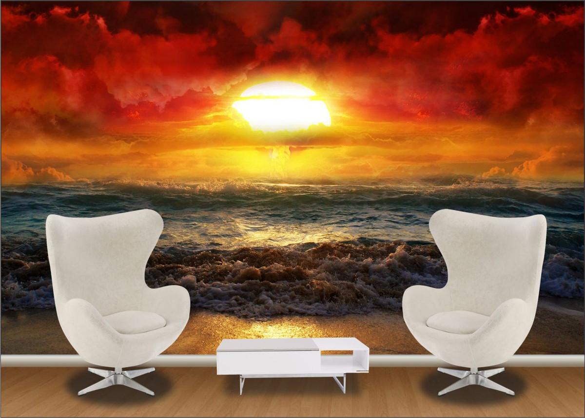 Papel de parede 3d paisagens por do sol up adesivos 3d for Sala de estar com papel de parede 3d