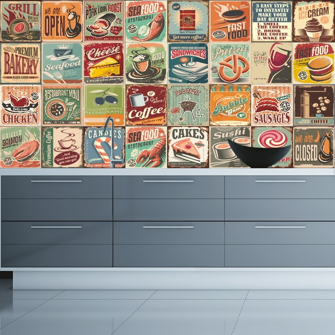 Aparador Kd Moveis ~ Adesivo Azulejos Cozinha Vintage no Elo7 Colou Adesivos